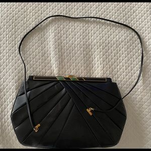 Vintage Judith Leiber Black Handbag with Strap